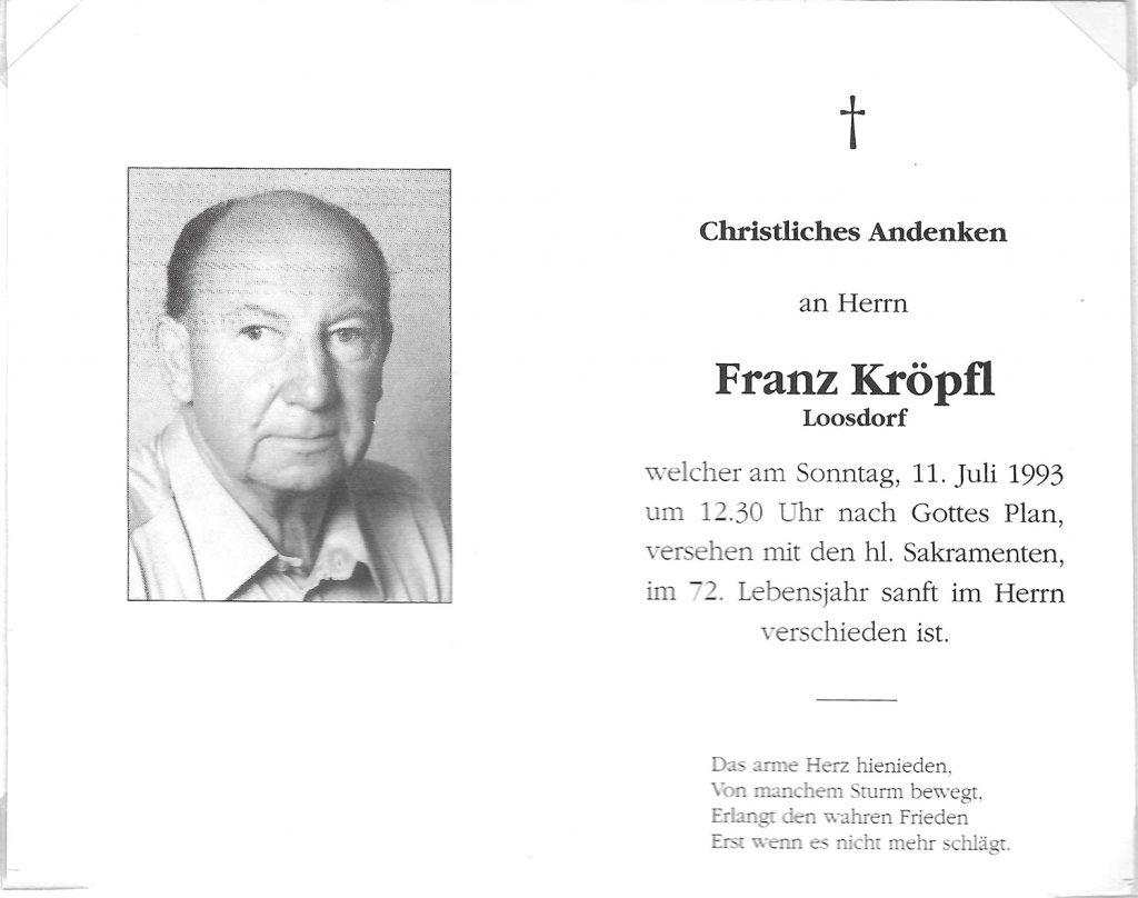 Andenken Franz Kröpfl